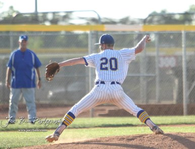 Bluestem Lion #20 Blake Bevan winds up to throw a pitch in the bottom of the first inning. The Spearville Royal Lancers defeated the Bluestem Lions 5 to 1 in the KSHSAA Class 2-1A State Baseball Quarterfinal at the Great Bend Sports Complex in Great Bend, Kansas on May 24, 2018. (Photo: Joey Bahr, www.joeybahr.com)