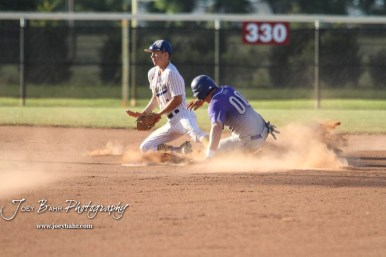 Spearville Royal Lancer #00 Bailey Sites steals second base in the bottom of the second inning. The Spearville Royal Lancers defeated the Bluestem Lions 5 to 1 in the KSHSAA Class 2-1A State Baseball Quarterfinal at the Great Bend Sports Complex in Great Bend, Kansas on May 24, 2018. (Photo: Joey Bahr, www.joeybahr.com)