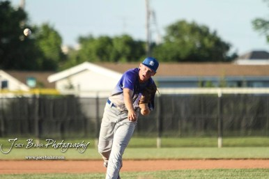 Spearville Royal Lancer #11 Kolby Stein throws a pitch in the top of the third inning. The Spearville Royal Lancers defeated the Bluestem Lions 5 to 1 in the KSHSAA Class 2-1A State Baseball Quarterfinal at the Great Bend Sports Complex in Great Bend, Kansas on May 24, 2018. (Photo: Joey Bahr, www.joeybahr.com)