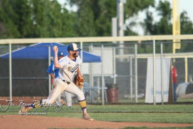 Bluestem Lion #20 Blake Bevan throws a pitch in the bottom of the fourth inning. The Spearville Royal Lancers defeated the Bluestem Lions 5 to 1 in the KSHSAA Class 2-1A State Baseball Quarterfinal at the Great Bend Sports Complex in Great Bend, Kansas on May 24, 2018. (Photo: Joey Bahr, www.joeybahr.com)