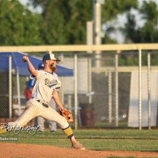 Bluestem Lion #20 Blake Bevan throws a pitch in the bottom of the fifth inning. The Spearville Royal Lancers defeated the Bluestem Lions 5 to 1 in the KSHSAA Class 2-1A State Baseball Quarterfinal at the Great Bend Sports Complex in Great Bend, Kansas on May 24, 2018. (Photo: Joey Bahr, www.joeybahr.com)