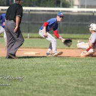 Chase County Bulldog #1 Trint Rogers slides into second base as the ball arrives in the top of the fourth inning. The Chase County Bulldogs defeated the West Elk Patriots 16 to 5 in the KSHSAA Class 2-1A State Baseball Quarterfinal at the Great Bend Sports Complex in Great Bend, Kansas on May 24, 2018. (Photo: Joey Bahr, www.joeybahr.com)