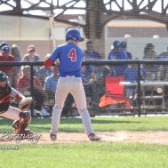 West Elk Patriot #4 Timothy Whetstone watches a pitch approach in the bottom of the fifth inning. The Chase County Bulldogs defeated the West Elk Patriots 16 to 5 in the KSHSAA Class 2-1A State Baseball Quarterfinal at the Great Bend Sports Complex in Great Bend, Kansas on May 24, 2018. (Photo: Joey Bahr, www.joeybahr.com)
