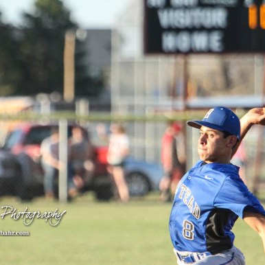 Halstead Dragon Ivan Gutierrez (#8) throws a pitch in the bottom of the second inning. The Hoisington Cardinals defeated the Halstead Dragons by a score of 10 to 6 at Legion Field in Hoisington, Kansas on April 27, 2018. (Photo: Joey Bahr, www.joeybahr.com)