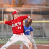 Hoisington Cardinal Braxton Donovan (#14) throws a pitch in the top of the fifth inning. The Hoisington Cardinals defeated the Halstead Dragons by a score of 10 to 6 at Legion Field in Hoisington, Kansas on April 27, 2018. (Photo: Joey Bahr, www.joeybahr.com)