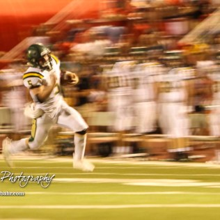 Pratt Greenback #5 Travis Theis runs to the end zone in the third quarter. The Pratt Greenbacks defeated the Hoisington Cardinals by a score of 34 to 0 at Elton Brown Field in Hoisington, Kansas on August 31, 2018. (Photo: Joey Bahr, www.joeybahr.com)
