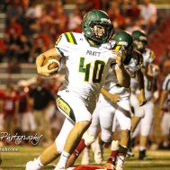 Pratt Greenback #40 Bryce Winsor takes off for the end zone in the fourth quarter. The Pratt Greenbacks defeated the Hoisington Cardinals by a score of 34 to 0 at Elton Brown Field in Hoisington, Kansas on August 31, 2018. (Photo: Joey Bahr, www.joeybahr.com)