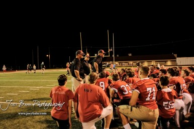 Hoisington Cardinal Head Coach Zach Baird addresses his players following the game. The Pratt Greenbacks defeated the Hoisington Cardinals by a score of 34 to 0 at Elton Brown Field in Hoisington, Kansas on August 31, 2018. (Photo: Joey Bahr, www.joeybahr.com)