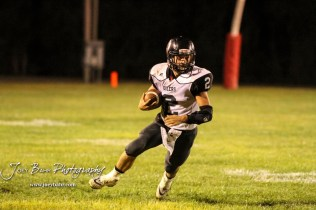 Central Plains Oiler #2 Jerred Bieberle carries the ball in the third quarter. The Central Plains Oilers defeated the Little River Redskins by a score of 46 to 0 at Community Memorial Park in Little River, Kansas on September 21, 2018. (Photo: Joey Bahr, www.joeybahr.com)