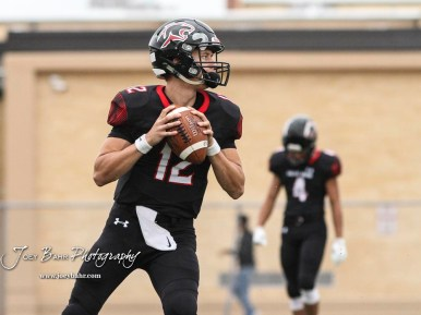 Great Bend Panther #12 Koy Brack winds up to throw a pass during warmups. The Hays Indians faced off with the Great Bend Panthers at Memorial Stadium in Great Bend, Kansas on September 7, 2018. (Photo: Joey Bahr, www.joeybahr.com)