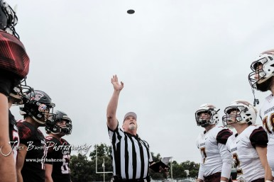 The referee tosses the coin prior to the start of the game. The Great Bend Panthers defeated the Hays Indians with a score of 15 to 7 at Memorial Stadium in Great Bend, Kansas on September 7, 2018. (Photo: Joey Bahr, www.joeybahr.com)