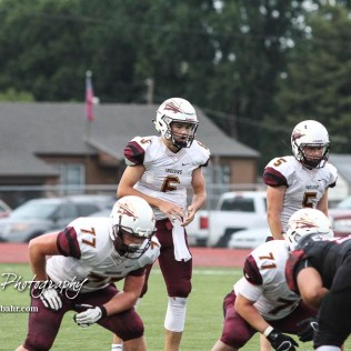 Hays Indian #6 Palmer Hutchison calls for the ball in the first quarter. The Hays Indians faced off with the Great Bend Panthers at Memorial Stadium in Great Bend, Kansas on September 7, 2018. (Photo: Joey Bahr, www.joeybahr.com)