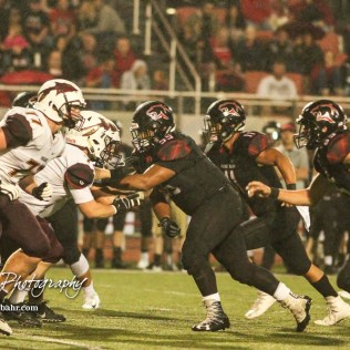 Great Bend Panther #55 Eric Vazquez launches into the Hays Indian offensive line in the third quarter. The Great Bend Panthers defeated the Hays Indians with a score of 15 to 7 at Memorial Stadium in Great Bend, Kansas on September 7, 2018. (Photo: Joey Bahr, www.joeybahr.com)