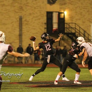 Great Bend Panther #12 Koy Brack throws a pass in the fourth quarter. The Great Bend Panthers defeated the Hays Indians with a score of 15 to 7 at Memorial Stadium in Great Bend, Kansas on September 7, 2018. (Photo: Joey Bahr, www.joeybahr.com)