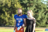 Homecoming King and Queen candidates Caleb Cheely and Kaylin Knaple stand during Homecoming festivities. The Stafford Trojans faced the Otis-Bison Cougars at Cougar Field in Otis, Kansas on September 14, 2018. (Photo: Joey Bahr, www.joeybahr.com)