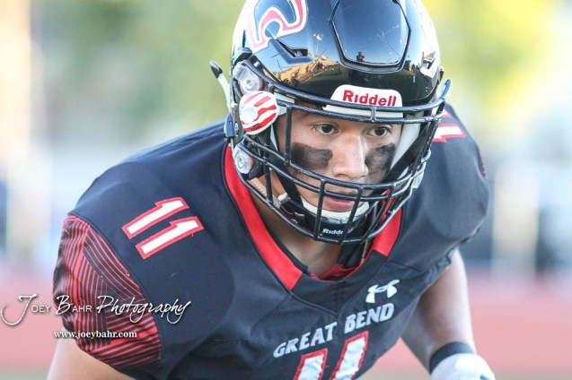 Great Bend Panther #11 Pablo Martinez watches the ball during a pregame warmup. The Great Bend Panthers defeated the Garden City Buffaloes 49 to 6 at Memorial Stadium in Great Bend, Kansas on October 19, 2018. (Photo: Joey Bahr, www.joeybahr.com)