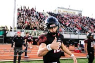 Great Bend Panther #12 Koy Brack signals he is ready to get the game started. The Great Bend Panthers defeated the Garden City Buffaloes 49 to 6 at Memorial Stadium in Great Bend, Kansas on October 19, 2018. (Photo: Joey Bahr, www.joeybahr.com)