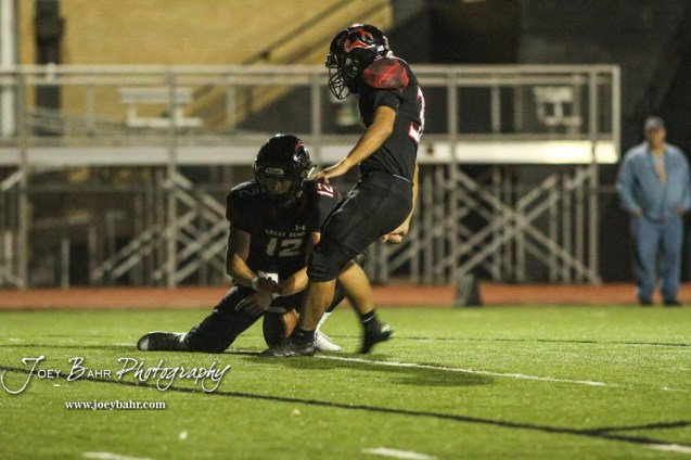 Great Bend Panther #38 Dani Franco kicks a Point After Touchdown. The Great Bend Panthers defeated the Garden City Buffaloes 49 to 6 at Memorial Stadium in Great Bend, Kansas on October 19, 2018. (Photo: Joey Bahr, www.joeybahr.com)