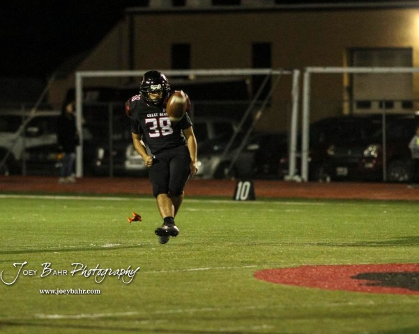 Great Bend Panther #38 Dani Franco kicks the ball off after a touchdown. The Great Bend Panthers defeated the Garden City Buffaloes 49 to 6 at Memorial Stadium in Great Bend, Kansas on October 19, 2018. (Photo: Joey Bahr, www.joeybahr.com)