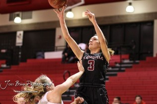 Plainville Lady Cardinal #3 Aubree Dewey shoots a jump shot in the second quarter. The Plainville Lady Cardinals defeated the Hoisington Lady Cardinals by a score of 49 to 35 at the Hoisington Activity Center in Hoisington, Kansas on February 5, 2019. (Photo: Joey Bahr, www.joeybahr.com)