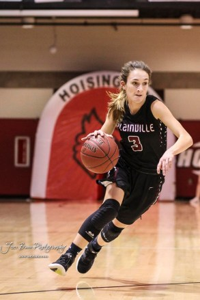 Plainville Lady Cardinal #3 Aubree Dewey drives towards the lane in the second quarter. The Plainville Lady Cardinals defeated the Hoisington Lady Cardinals by a score of 49 to 35 at the Hoisington Activity Center in Hoisington, Kansas on February 5, 2019. (Photo: Joey Bahr, www.joeybahr.com)
