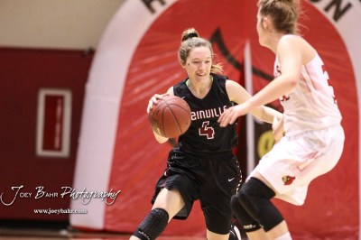 Plainville Lady Cardinal #4 Brooke Nuss brings the ball down the court in the second quarter. The Plainville Lady Cardinals defeated the Hoisington Lady Cardinals by a score of 49 to 35 at the Hoisington Activity Center in Hoisington, Kansas on February 5, 2019. (Photo: Joey Bahr, www.joeybahr.com)