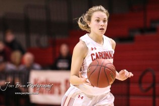 Hoisington Lady Cardinal #11 Keeley Wolf drives with the ball on a fast break in the third quarter. The Plainville Lady Cardinals defeated the Hoisington Lady Cardinals by a score of 49 to 35 at the Hoisington Activity Center in Hoisington, Kansas on February 5, 2019. (Photo: Joey Bahr, www.joeybahr.com)