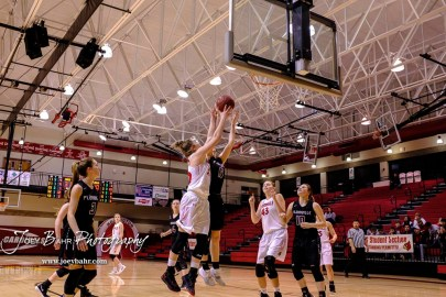 Hoisington Lady Cardinal #32 Kelsi Dalton goes for a layup as Plainville Lady Cardinal #11 Kate McClellan defends in the fourth quarter. The Plainville Lady Cardinals defeated the Hoisington Lady Cardinals by a score of 49 to 35 at the Hoisington Activity Center in Hoisington, Kansas on February 5, 2019. (Photo: Joey Bahr, www.joeybahr.com)