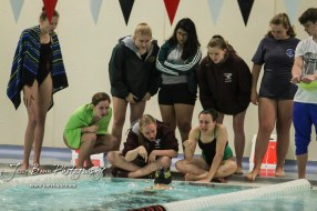 Teammates encourage Iliana Armbrust of Salina South during the 200 yard IM. The Great Bend Girls Swimming Invitational was held at the Kirkman Activity Center on the campus of Barton Community College in Great Bend on 4 20190426, 2019. (Photo: Joey Bahr, www.joeybahr.com)