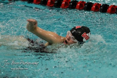 Alia Allen of Great Bend breathes during the 400 yard Freestyle Relay. The Great Bend Girls Swimming Invitational was held at the Kirkman Activity Center on the campus of Barton Community College in Great Bend on 4 20190426, 2019. (Photo: Joey Bahr, www.joeybahr.com)