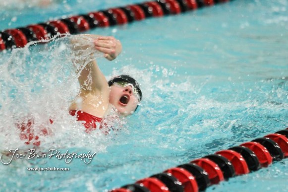 Ruth Williams of Great Bend Swims in the 400 yard Freestyle Relay. The Great Bend Girls Swimming Invitational was held at the Kirkman Activity Center on the campus of Barton Community College in Great Bend on 4 20190426, 2019. (Photo: Joey Bahr, www.joeybahr.com)