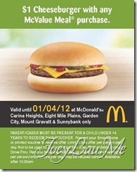$1 Cheeseburger with any McValue Meal purchase.