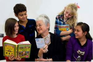 Jacqueline Wilson discussing books at a Chatterbooks session