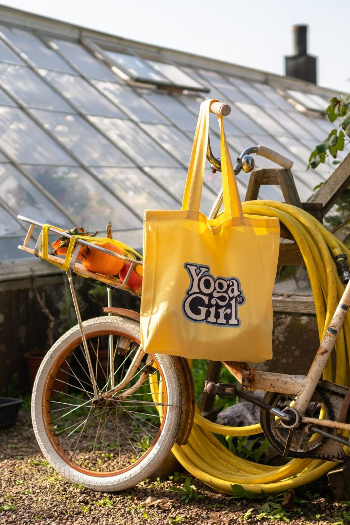 Yellow tote for Yoga Girl