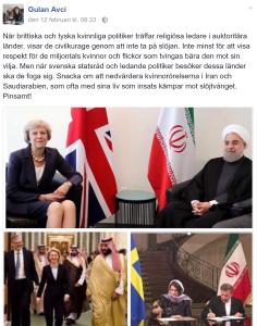 Facebook-inlägg från Liberala Kvinnors ordförande Gulan Avci.