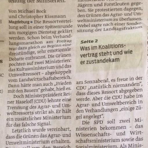 Zeitungsartikel vom 18.04.2016 (Volksstimme Staßfurt)