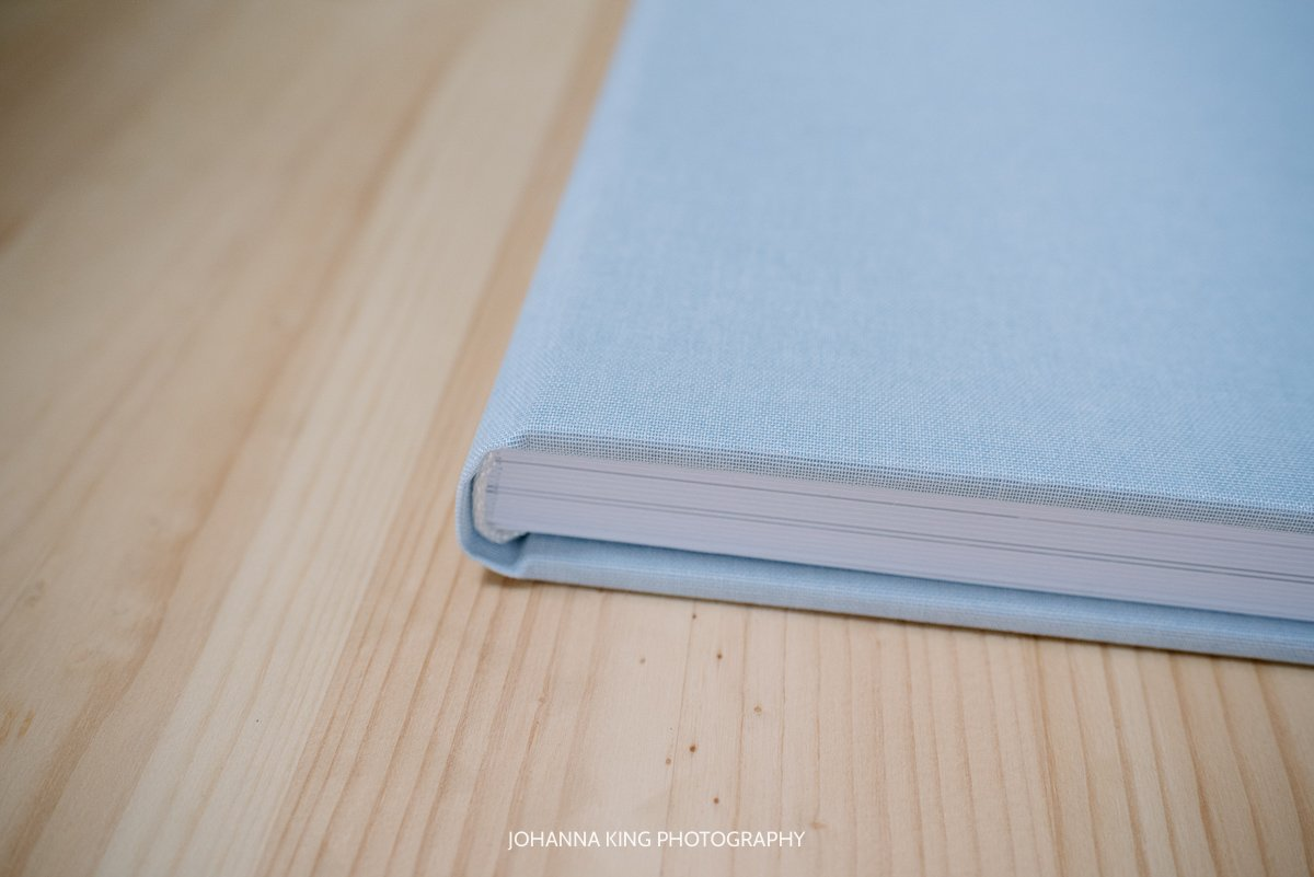 Professional photo album blue linen cover