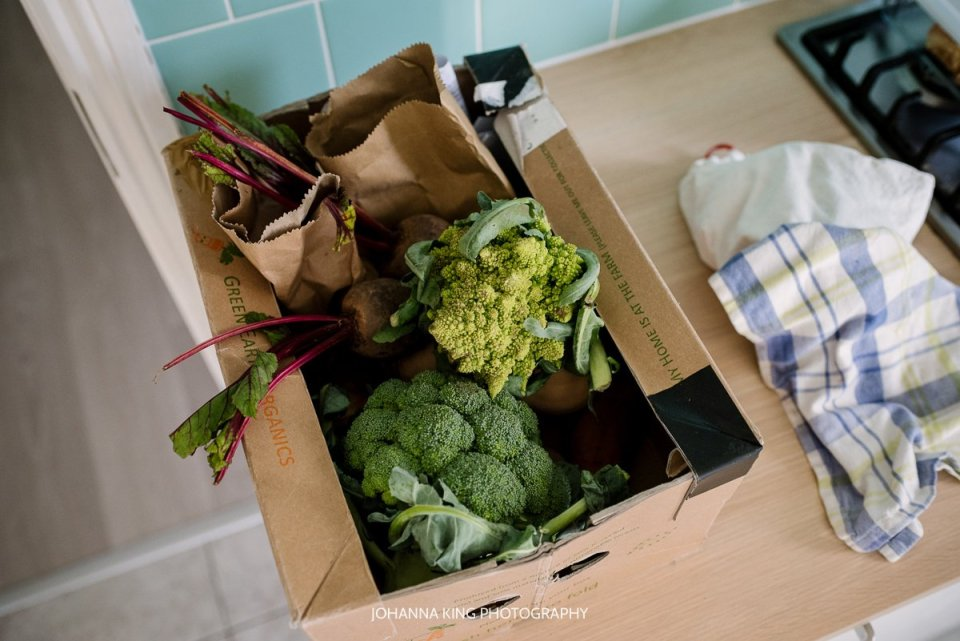 Box of home delivered organic vegetables in Dublin - we can see broccoli