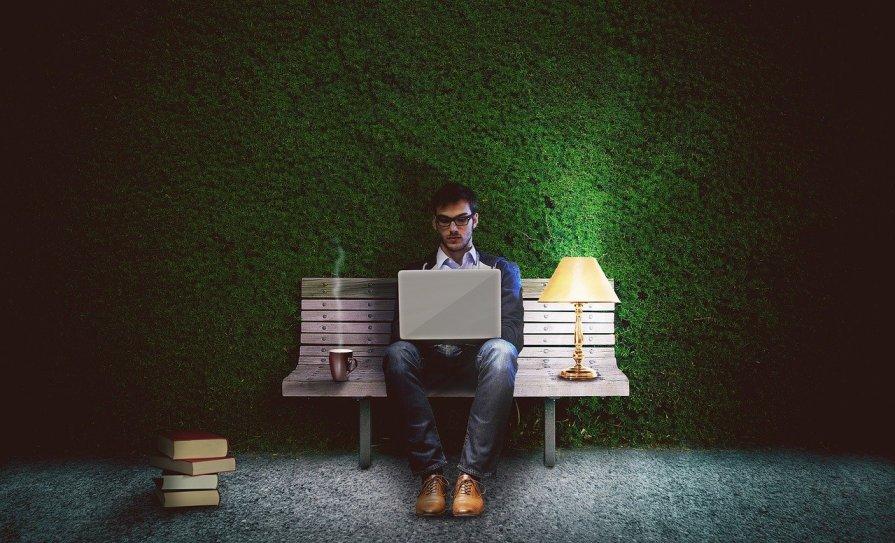a man using a computer