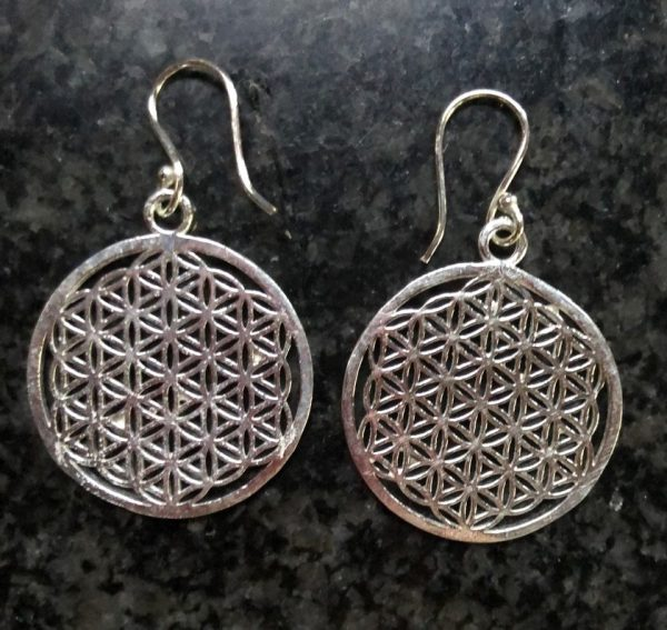 Flower Of Life Silver Earrings From Nepal, Large