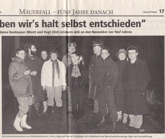 """Zeitung: """"Neue Presse"""", Coburg am 24.12.1989."""