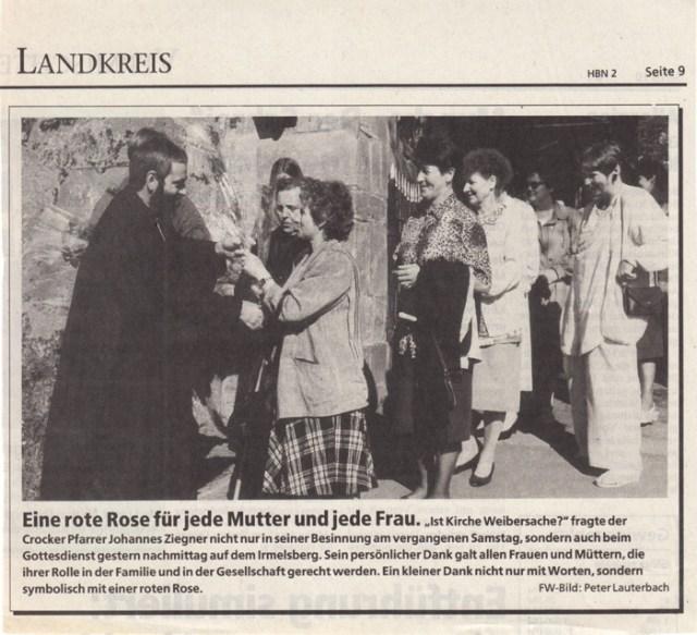 """Zeitung: """"Freies Wort"""", Gottesdienst vom 08.05.1994."""