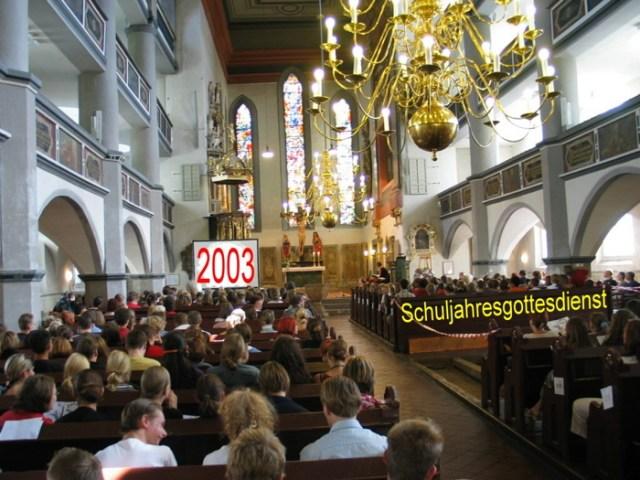 Schulgottesdienst in der St. Georgenkirche Eisenach.