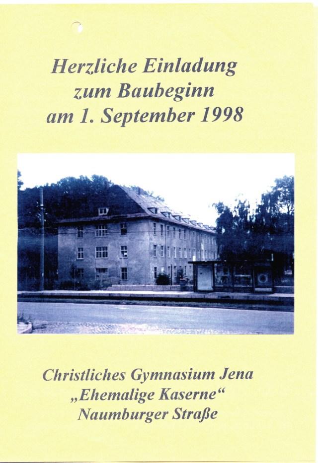 Einladung zum Baubeginn 1998