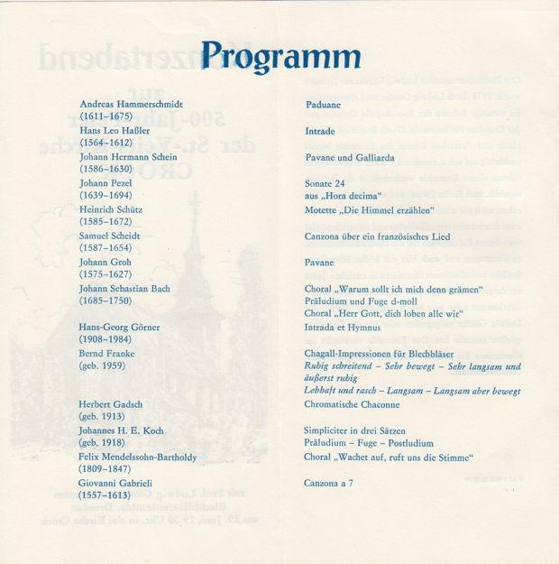 Programm zum Güttler-Konzert 1989, Kirche Crock