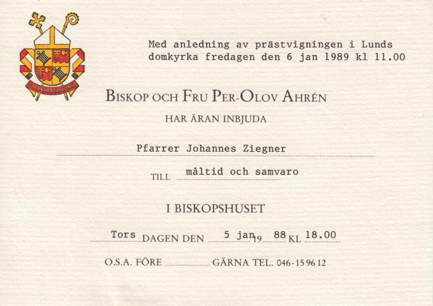 Einladung nach Schweden am 06.01.1989