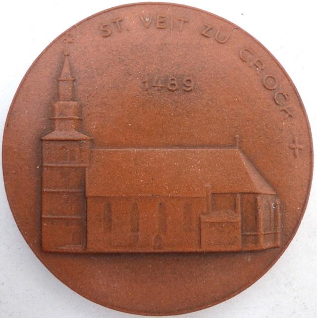 Tonmedaille 500 Jahre Kirche Crock, 1989