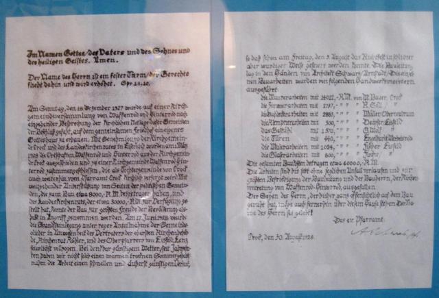Schreiben aus Turmknopf 1928-1978