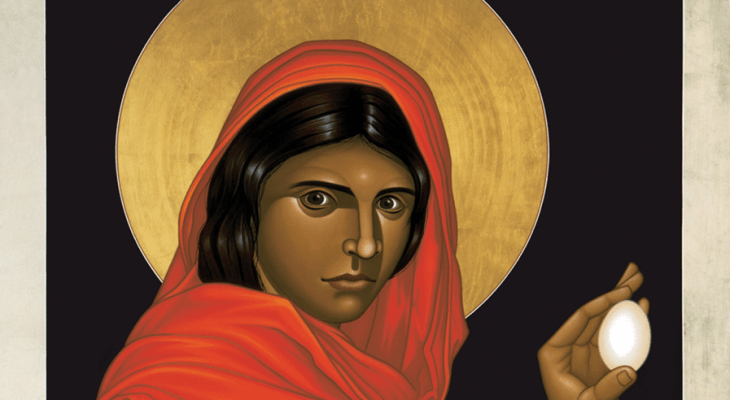 Icon of Mary Magdalene, dressed in red, holding up an egg.