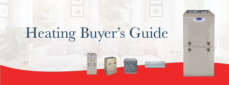 Several pieces of home heating equipment on red and white background